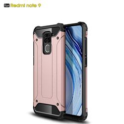 King Kong Armor Premium Shockproof Dual Layer Rugged Hard Cover for Xiaomi Redmi Note 9 - Rose Gold