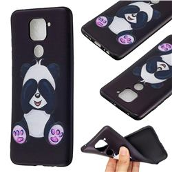 Lovely Panda 3D Embossed Relief Black Soft Back Cover for Xiaomi Redmi Note 9