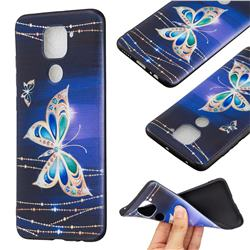 Golden Shining Butterfly 3D Embossed Relief Black Soft Back Cover for Xiaomi Redmi Note 9