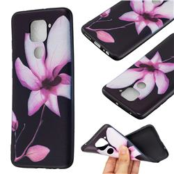 Lotus Flower 3D Embossed Relief Black Soft Back Cover for Xiaomi Redmi Note 9