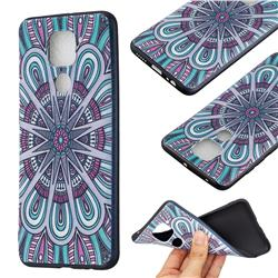 Mandala 3D Embossed Relief Black Soft Back Cover for Xiaomi Redmi Note 9