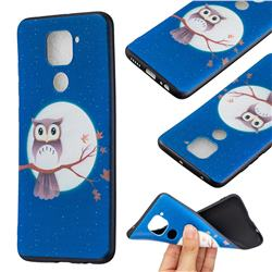 Moon and Owl 3D Embossed Relief Black Soft Back Cover for Xiaomi Redmi Note 9