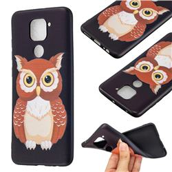 Big Owl 3D Embossed Relief Black Soft Back Cover for Xiaomi Redmi Note 9