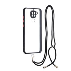 Necklace Cross-body Lanyard Strap Cord Phone Case Cover for Xiaomi Redmi Note 9 - Black