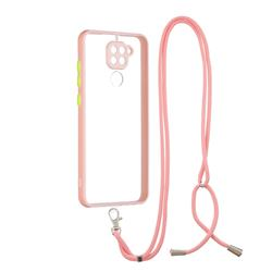 Necklace Cross-body Lanyard Strap Cord Phone Case Cover for Xiaomi Redmi Note 9 - Pink