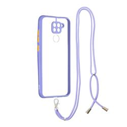 Necklace Cross-body Lanyard Strap Cord Phone Case Cover for Xiaomi Redmi Note 9 - Purple