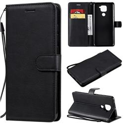 Retro Greek Classic Smooth PU Leather Wallet Phone Case for Xiaomi Redmi Note 9 - Black