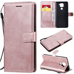 Retro Greek Classic Smooth PU Leather Wallet Phone Case for Xiaomi Redmi Note 9 - Rose Gold
