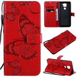 Embossing 3D Butterfly Leather Wallet Case for Xiaomi Redmi Note 9 - Red