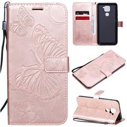 Embossing 3D Butterfly Leather Wallet Case for Xiaomi Redmi Note 9 - Rose Gold