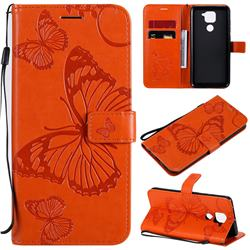 Embossing 3D Butterfly Leather Wallet Case for Xiaomi Redmi Note 9 - Orange