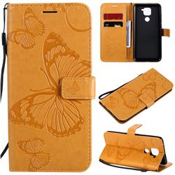 Embossing 3D Butterfly Leather Wallet Case for Xiaomi Redmi Note 9 - Yellow