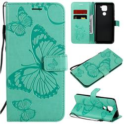Embossing 3D Butterfly Leather Wallet Case for Xiaomi Redmi Note 9 - Green