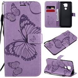 Embossing 3D Butterfly Leather Wallet Case for Xiaomi Redmi Note 9 - Purple