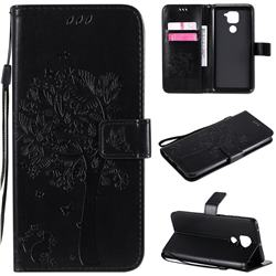 Embossing Butterfly Tree Leather Wallet Case for Xiaomi Redmi Note 9 - Black