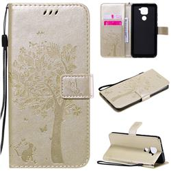 Embossing Butterfly Tree Leather Wallet Case for Xiaomi Redmi Note 9 - Champagne