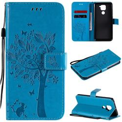 Embossing Butterfly Tree Leather Wallet Case for Xiaomi Redmi Note 9 - Blue