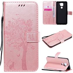 Embossing Butterfly Tree Leather Wallet Case for Xiaomi Redmi Note 9 - Rose Pink