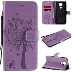 Embossing Butterfly Tree Leather Wallet Case for Xiaomi Redmi Note 9 - Violet