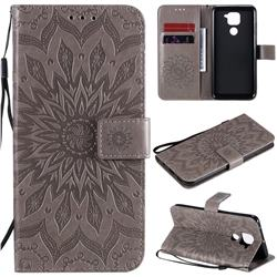 Embossing Sunflower Leather Wallet Case for Xiaomi Redmi Note 9 - Gray