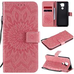 Embossing Sunflower Leather Wallet Case for Xiaomi Redmi Note 9 - Pink