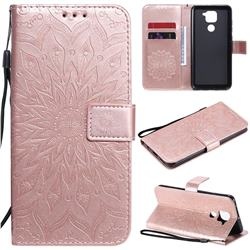 Embossing Sunflower Leather Wallet Case for Xiaomi Redmi Note 9 - Rose Gold