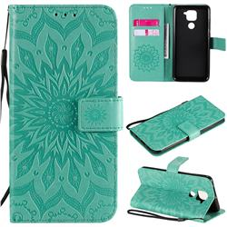 Embossing Sunflower Leather Wallet Case for Xiaomi Redmi Note 9 - Green