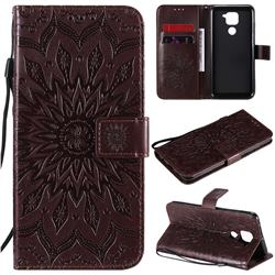 Embossing Sunflower Leather Wallet Case for Xiaomi Redmi Note 9 - Brown