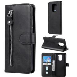 Retro Luxury Zipper Leather Phone Wallet Case for Xiaomi Redmi Note 9 - Black
