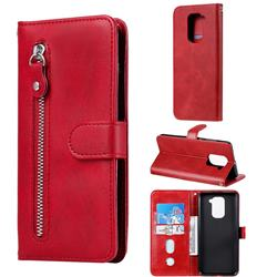 Retro Luxury Zipper Leather Phone Wallet Case for Xiaomi Redmi Note 9 - Red