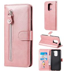 Retro Luxury Zipper Leather Phone Wallet Case for Xiaomi Redmi Note 9 - Pink