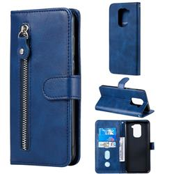 Retro Luxury Zipper Leather Phone Wallet Case for Xiaomi Redmi Note 9 - Blue