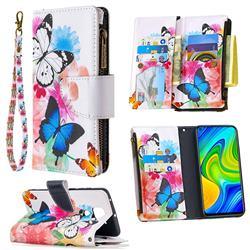 Vivid Flying Butterflies Binfen Color BF03 Retro Zipper Leather Wallet Phone Case for Xiaomi Redmi Note 9