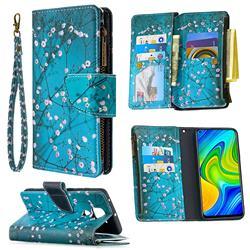 Blue Plum Binfen Color BF03 Retro Zipper Leather Wallet Phone Case for Xiaomi Redmi Note 9