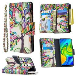 The Tree of Life Binfen Color BF03 Retro Zipper Leather Wallet Phone Case for Xiaomi Redmi Note 9