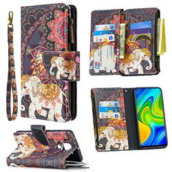 Totem Flower Elephant Binfen Color BF03 Retro Zipper Leather Wallet Phone Case for Xiaomi Redmi Note 9