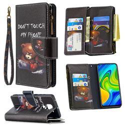 Chainsaw Bear Binfen Color BF03 Retro Zipper Leather Wallet Phone Case for Xiaomi Redmi Note 9