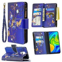 Purple Butterfly Binfen Color BF03 Retro Zipper Leather Wallet Phone Case for Xiaomi Redmi Note 9
