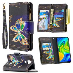 Golden Shining Butterfly Binfen Color BF03 Retro Zipper Leather Wallet Phone Case for Xiaomi Redmi Note 9