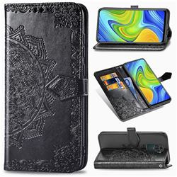 Embossing Imprint Mandala Flower Leather Wallet Case for Xiaomi Redmi Note 9 - Black