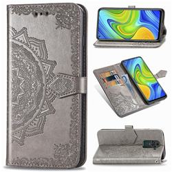 Embossing Imprint Mandala Flower Leather Wallet Case for Xiaomi Redmi Note 9 - Gray