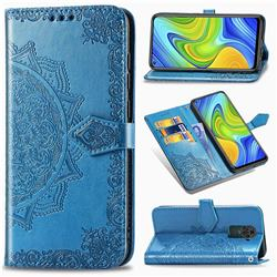Embossing Imprint Mandala Flower Leather Wallet Case for Xiaomi Redmi Note 9 - Blue