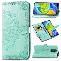 Embossing Imprint Mandala Flower Leather Wallet Case for Xiaomi Redmi Note 9 - Green