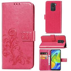 Embossing Imprint Four-Leaf Clover Leather Wallet Case for Xiaomi Redmi Note 9 - Rose Red