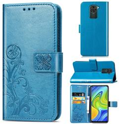 Embossing Imprint Four-Leaf Clover Leather Wallet Case for Xiaomi Redmi Note 9 - Blue