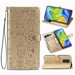 Embossing Dog Paw Kitten and Puppy Leather Wallet Case for Xiaomi Redmi Note 9 - Champagne Gold