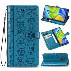Embossing Dog Paw Kitten and Puppy Leather Wallet Case for Xiaomi Redmi Note 9 - Blue