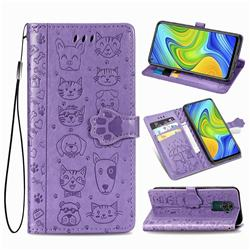 Embossing Dog Paw Kitten and Puppy Leather Wallet Case for Xiaomi Redmi Note 9 - Purple