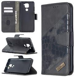 BinfenColor BF04 Color Block Stitching Crocodile Leather Case Cover for Xiaomi Redmi Note 9 - Black