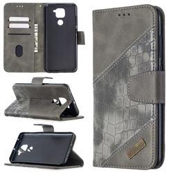 BinfenColor BF04 Color Block Stitching Crocodile Leather Case Cover for Xiaomi Redmi Note 9 - Gray